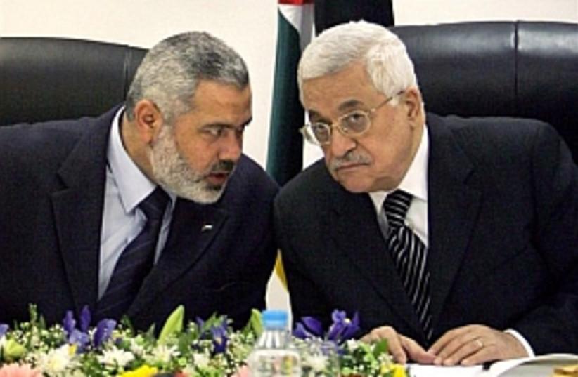 Abbas and Haniyeh (photo credit: AP [file])