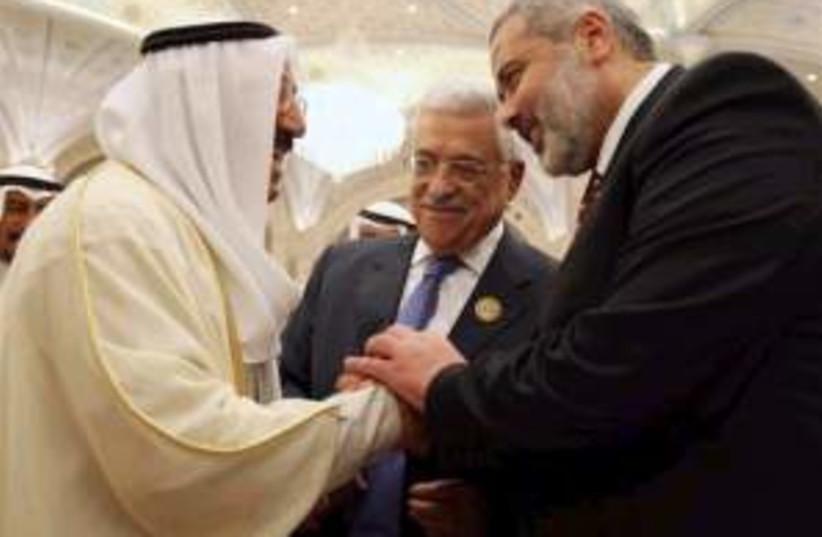 arab summit abbas haniye (photo credit: AP)