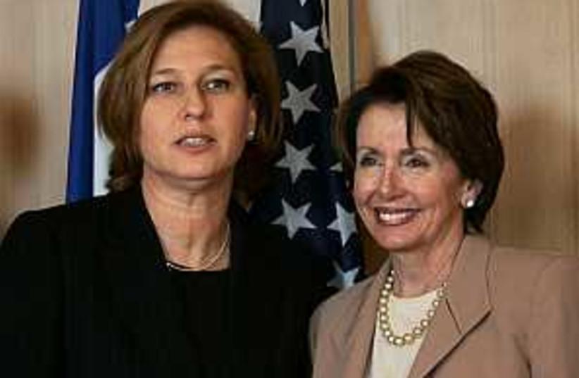Pelosi Livni 298.88 AP (photo credit: AP)