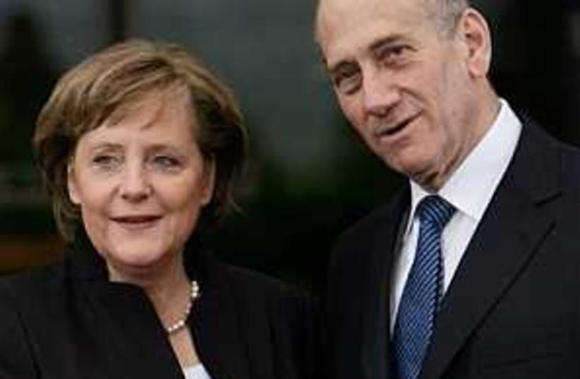 Olmert Merkel 298 AP (photo credit: AP [file])