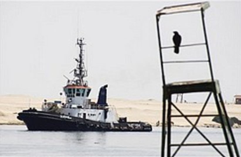 An Egyptian Suez canal pilot boat sails at the can (photo credit: AP)