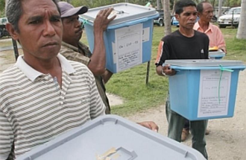 East Timor votes 298.88 (photo credit: AP)