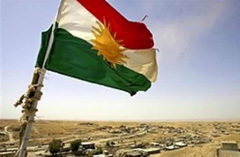 A Kurdish flag in northern Iraq (photo credit: AP)