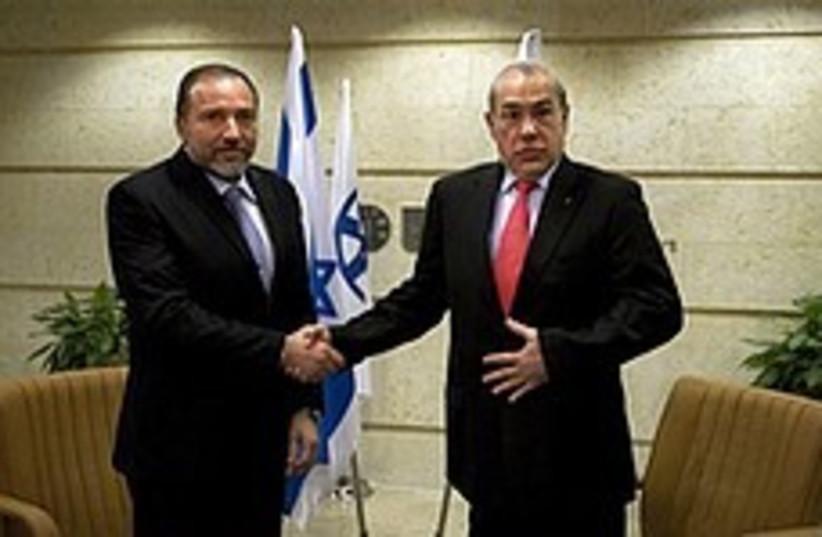Lieberman meets Gurria in Jerusalem, Tuesday (photo credit: AP)