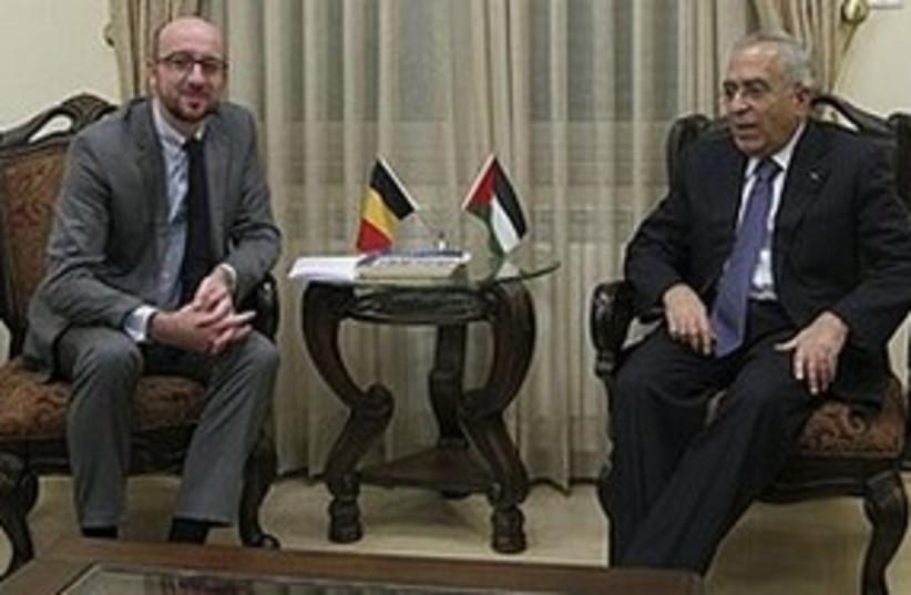 Belgian Minister Michel meets Fayyad in Ramallah, Sunday (photo credit: AP)