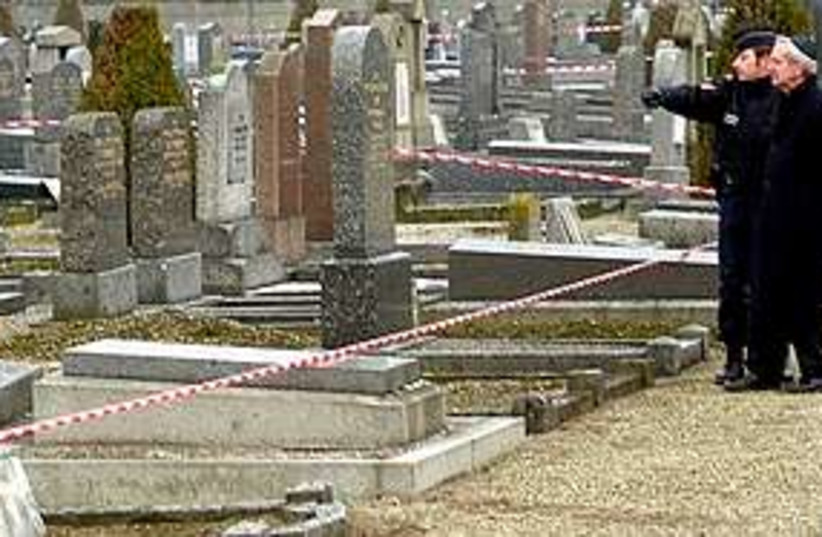 desecrated graves France (photo credit: AP)