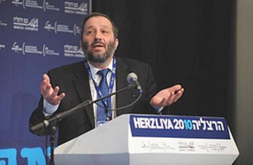 Arye Deri speaks at Herzliya Conference  (photo credit: Ori Porat)