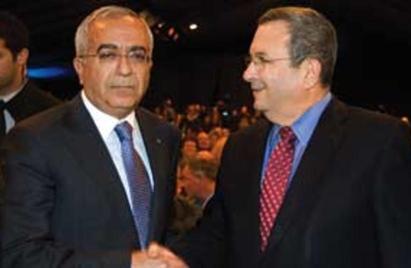 Ehud Barak and Salam Fayyad 311 ap (photo credit: Associated Press)