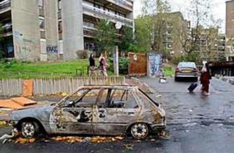 burnt car illustrative new (photo credit: AP)