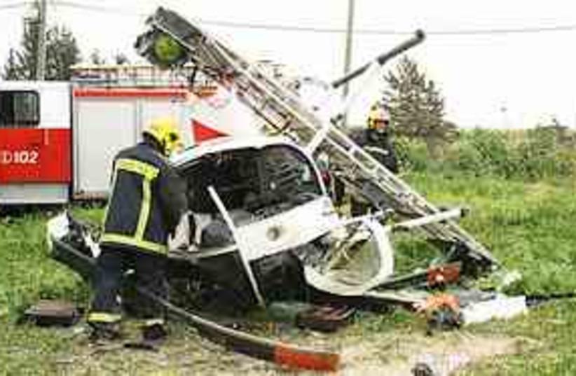 civilian helicopter crash (photo credit: Yitzhak Elharar / Scoop 80)