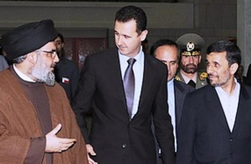 Nasrallah Assad Ahmadinejad 311 (photo credit: courtesy)
