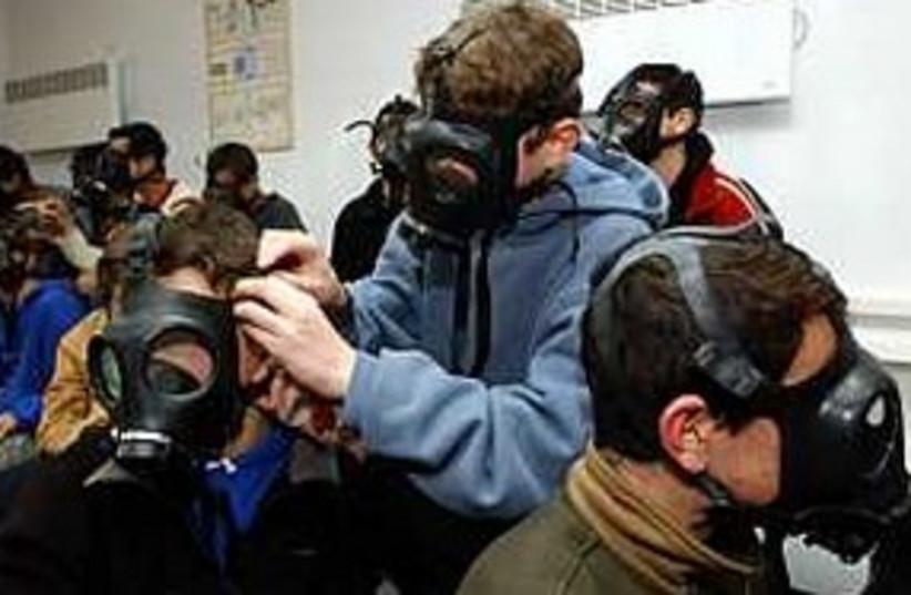 gas mask exercise 311 aj [file] (photo credit: Ariel Jerozolimski [file])