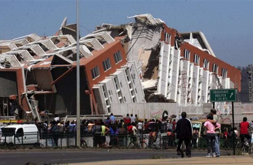 collapsed building in Concepcion (photo credit: AP)