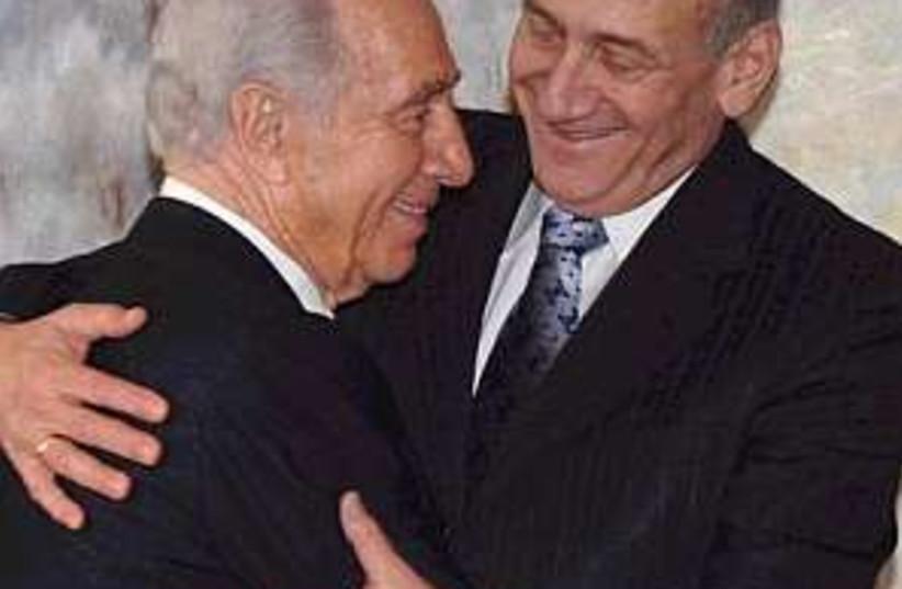 peres olmert hug 298 (photo credit: )