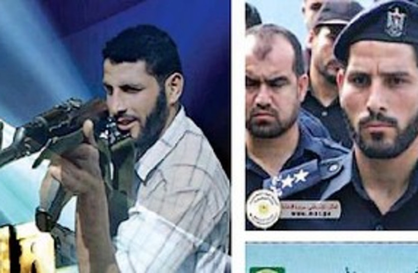 hamas fighter and cop 311  (photo credit: Adal Abu-On as an Izzadine al-Kassam operative and)