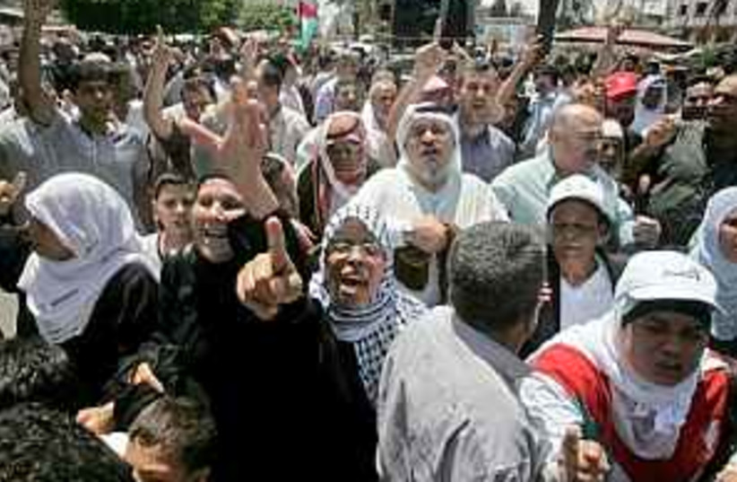 Gazans protest violence  (photo credit: AP)