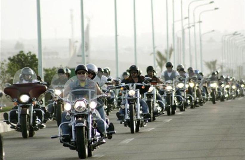 Harley Davidson motorcycle enthusiasts (photo credit: AP)
