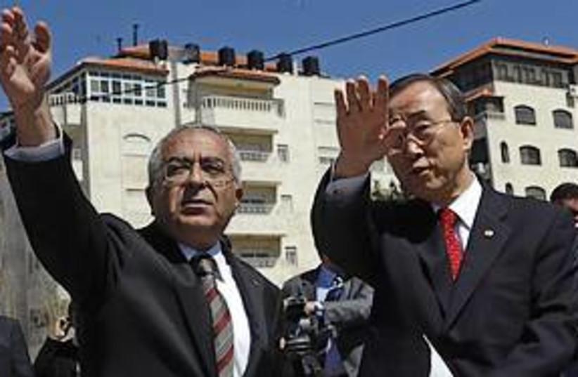 fayyad shows ban settlements 311 (photo credit: AP)