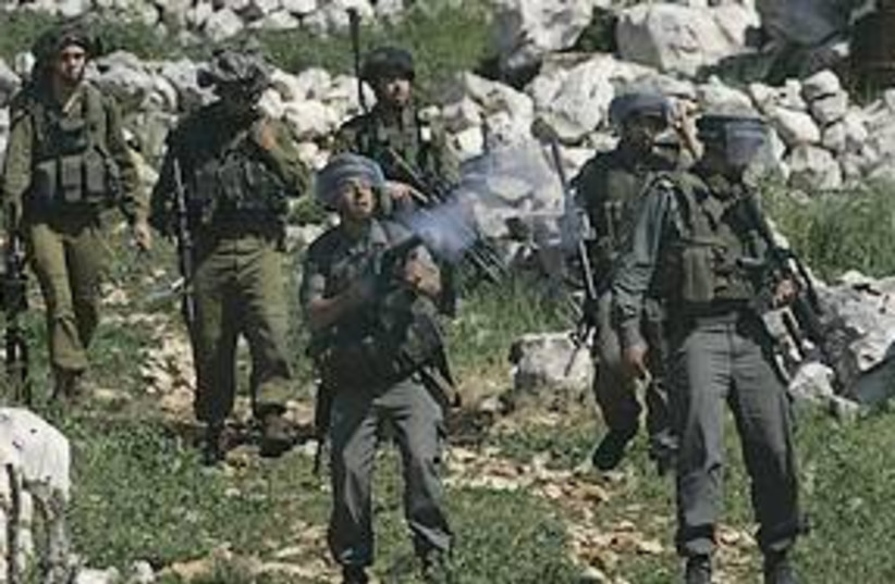 IDF tear gas protest 311 AP (photo credit: AP)