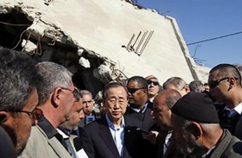 ben ki moon in gaza with rubble 311 (photo credit: AP)
