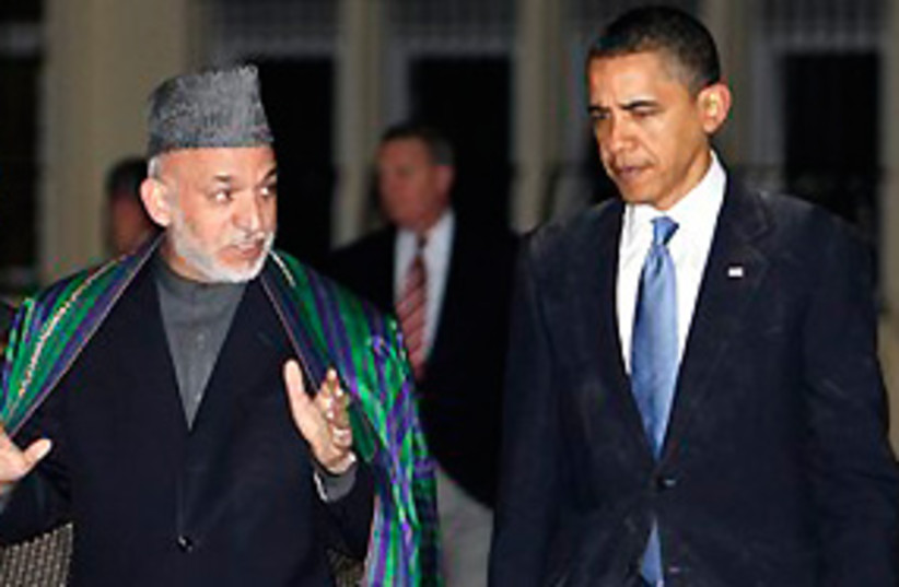 Obama and Karzai 311 (photo credit: AP)