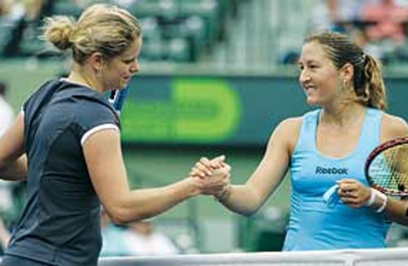 Pe'er and Clijsters 311 (photo credit: Associated Press)
