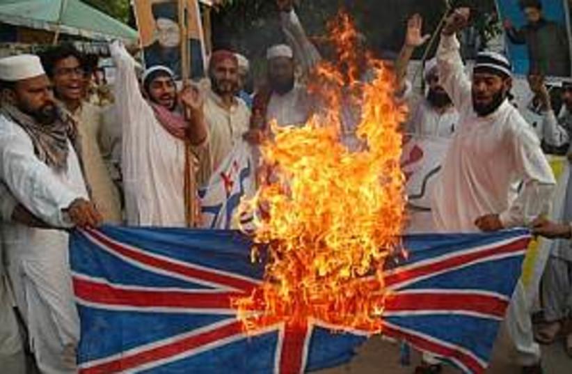 burning UK flag 298 (photo credit: AP)