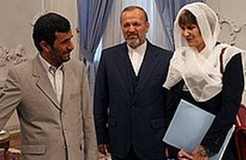 Ahmadinejad Calmy-Rey 311 (photo credit: Associated Press)