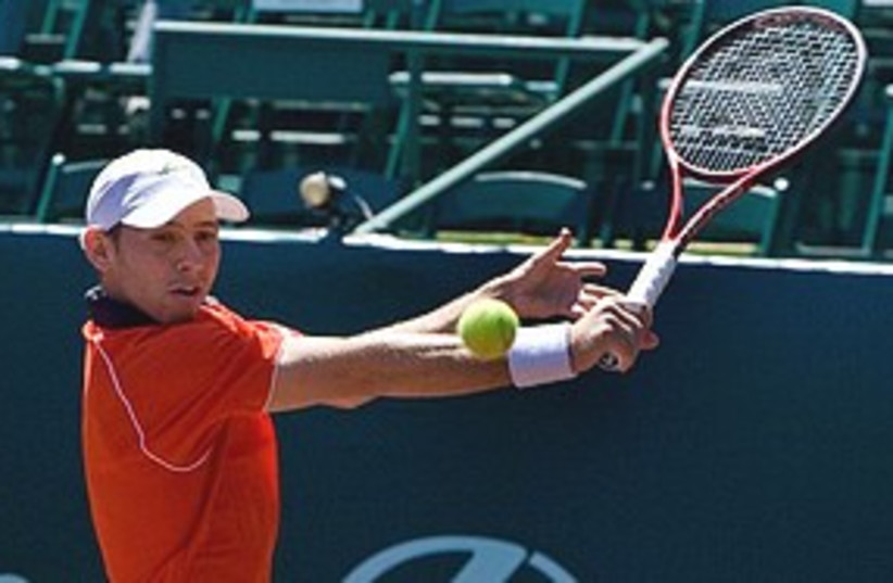 Dudi Sela backhand 311 (photo credit: Associated Press)