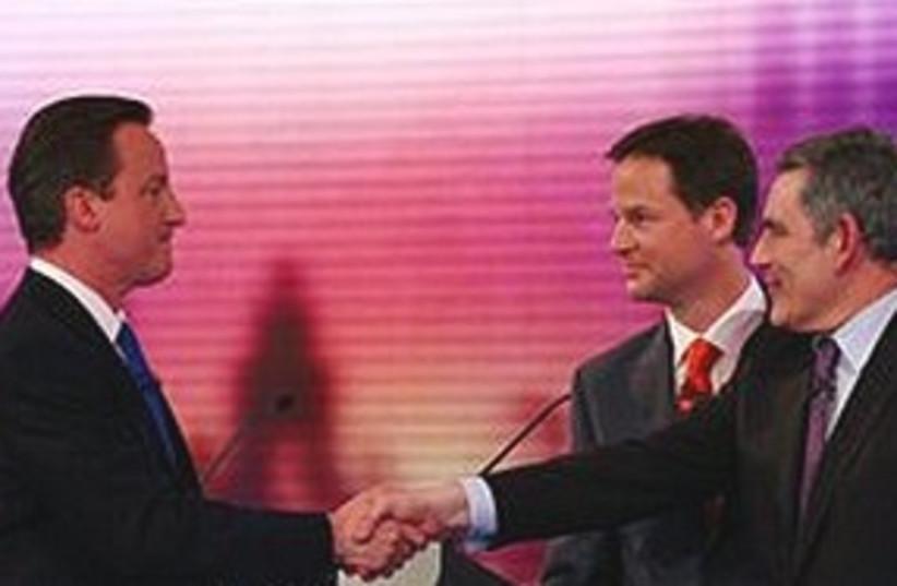 NBrown Cameron Clegg debate 311 (photo credit: NAssociated Press)