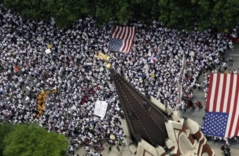 US immigration protest (photo credit: AP)