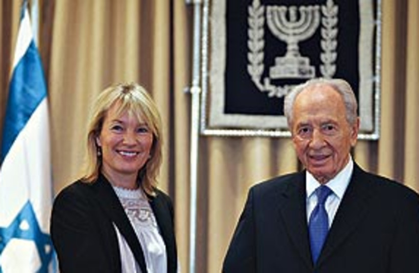 peres and danish foreign minister 311 (photo credit: Associated Press)