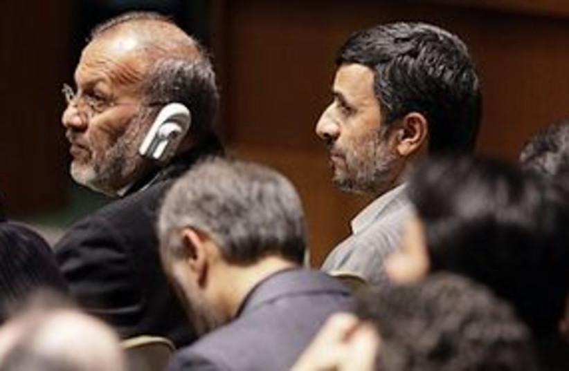 mottaki ahmadinejad 311 (photo credit: AP)