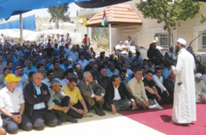 Imam addresses Israeli Peace Activists 311 (photo credit: Ben Hartman)
