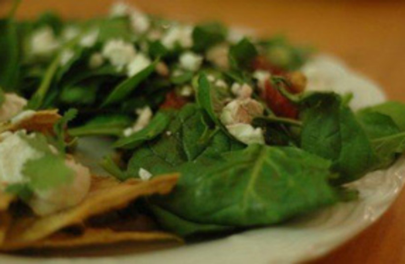 spinach salad with walnut peaches and goat cheese 311 (photo credit: gourmetkoshercooking.com)
