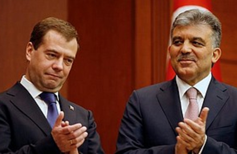 Medvedev and Gul 311 (photo credit: Associated Press)
