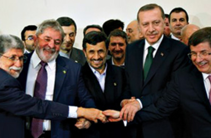 Ahmadinejad, Erdogan, Da Silva et al (photo credit: Associated Press)