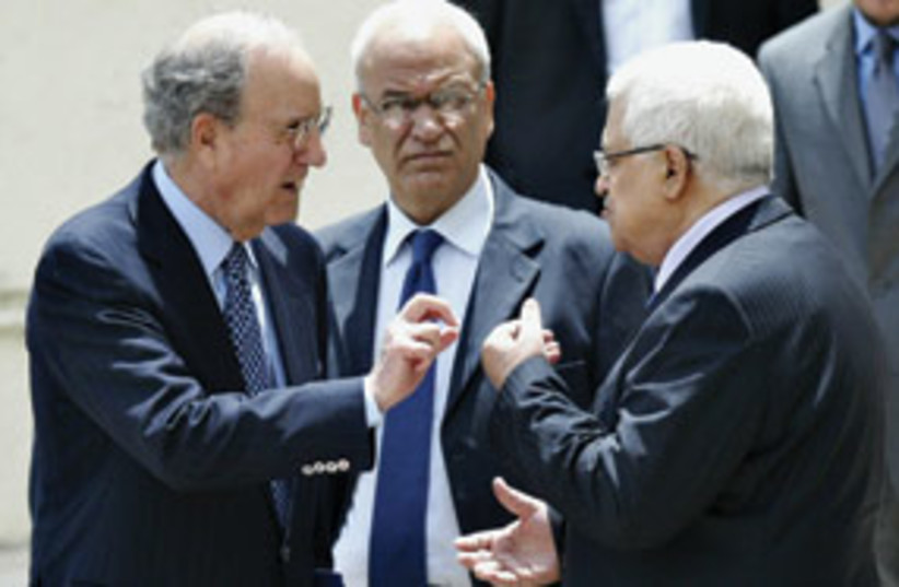 Mitchell with Erekat and Abbas 311 (photo credit: Associated Press)