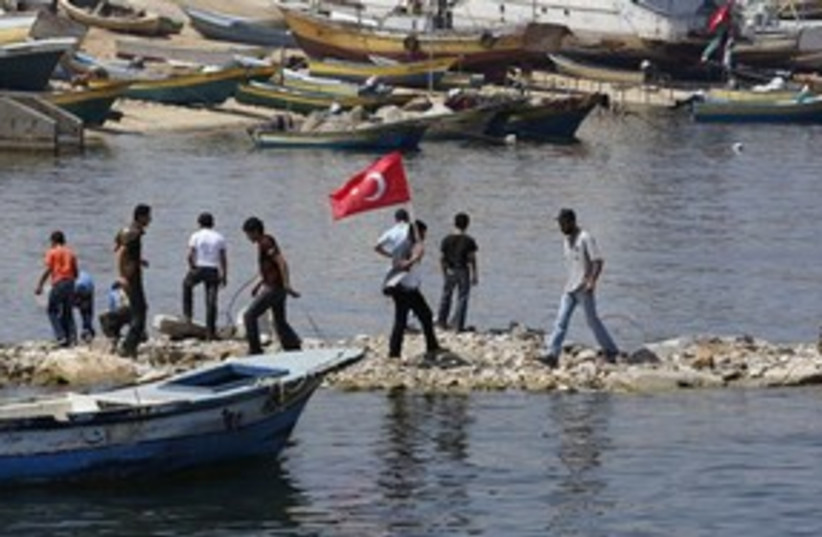 311_Gaza flotilla flag (photo credit: Associated Press)