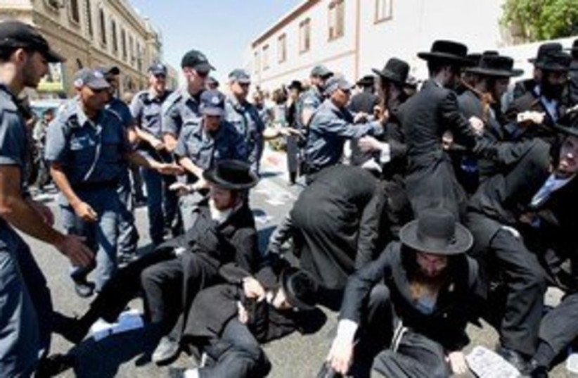 Haredi riots in Jaffa 311 (photo credit: Associated Press)