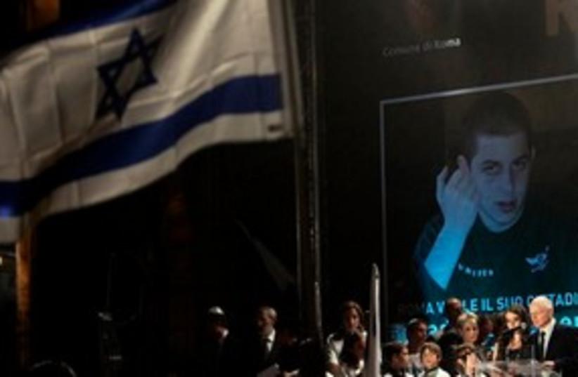 Gilad Schalit image + dad 311 (photo credit: Associated Press)