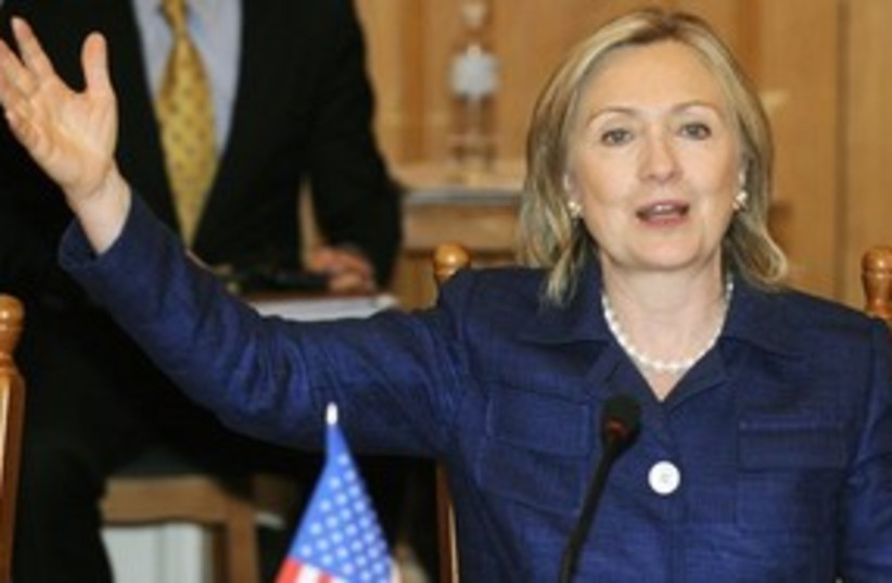 311_ Hillary Clinton hand gesture (photo credit: Associated Press)