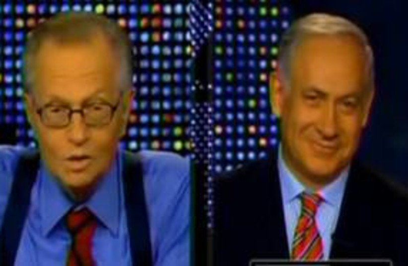 Binyamin Netanyahu on Larry King 311 (photo credit: YouTube)