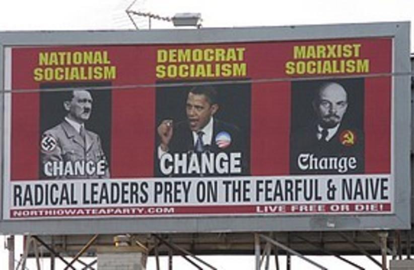 Obama Hitler poster 311 (photo credit: Associated Press)