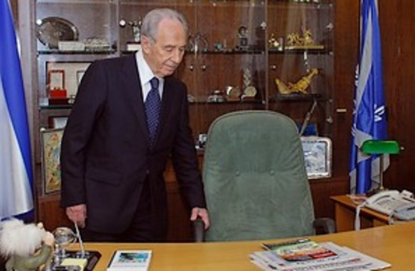Peres taking seat 298.88 (photo credit: GPO)