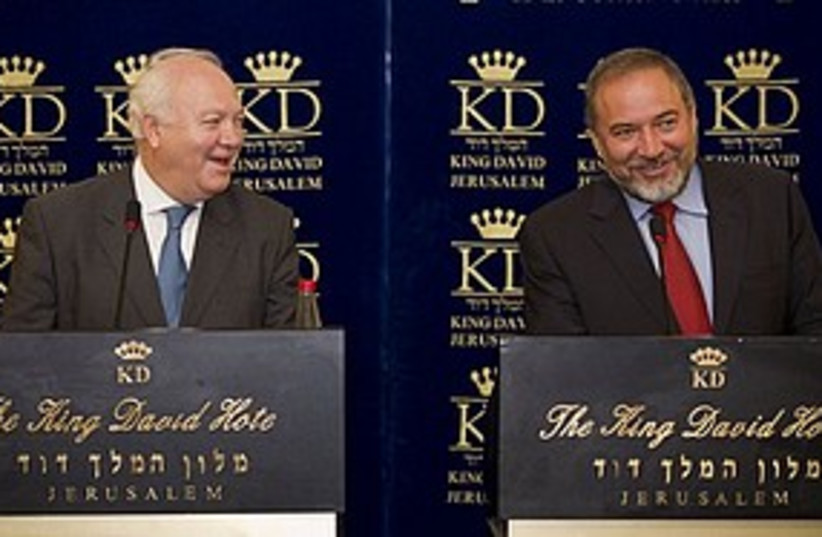 Moratinos Lieberman 311 AP (photo credit: Associated Press)