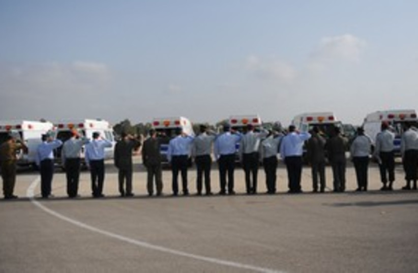 IAF coffins Tel Nof 311 (photo credit: Courtesy: IDF Spokesperson)
