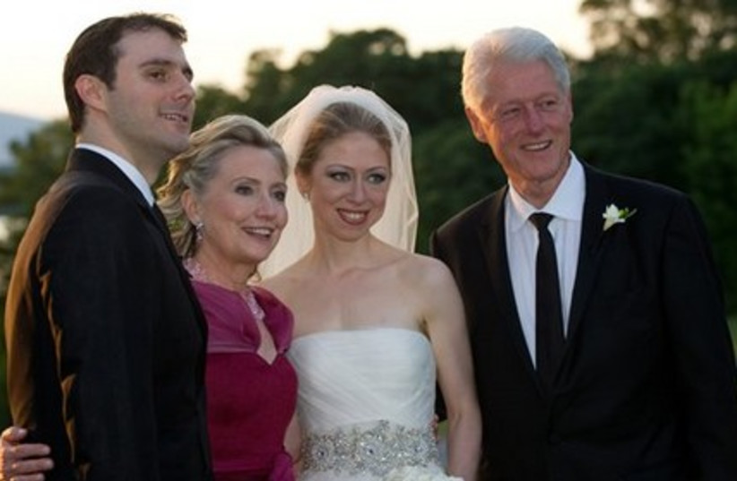 Marc Mezvinsky,left with his new mother-in-law Hillary Rodham Clinton, his bride Chelsea and father-
