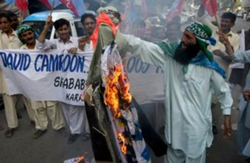 311_CameronPakistan demo (photo credit: Associated Press)