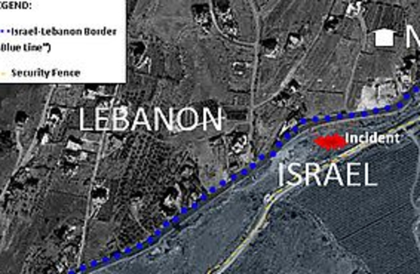 Lebanon Israel border map (photo credit: Courtesy)